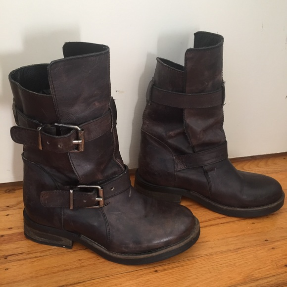 35f6b401255 Steve Madden Caveat Leather Ankle Moto Boots